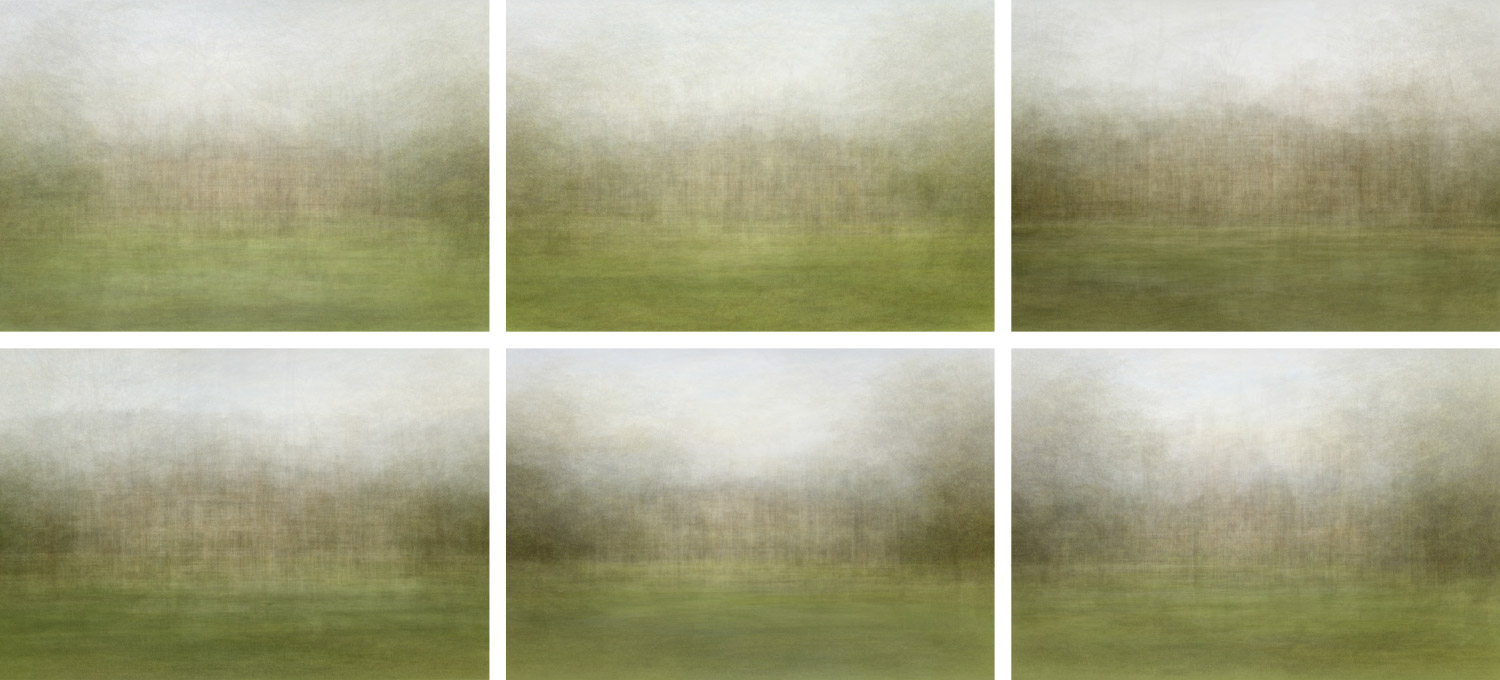 Grid of average images for each volume in two rows, three columns