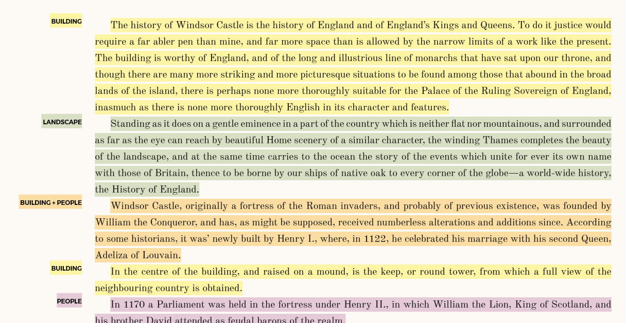 Description of Windsor castle with each paragraph color coded and tagged