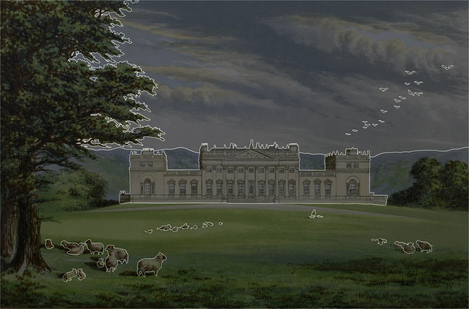 Outlined areas of Harewood House illustration
