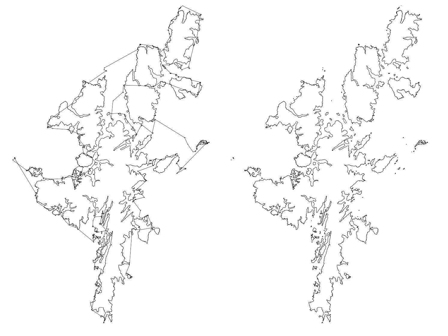 Shetland Islands with lines connecting each one to another