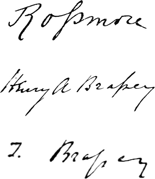 Signatures for Rossmore, Henry Brassey, and Thomas Brassey
