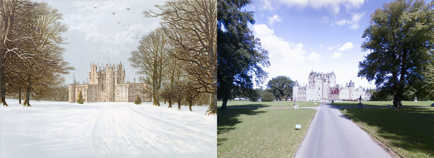 Side-by-side views of illustration and photo from Google Street View of Glamis Castle