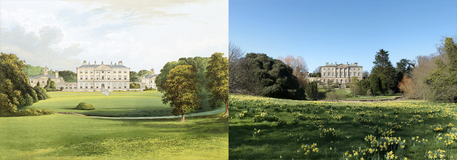 Side-by-side views of illustration and photo from Google Street View of Howick Hall
