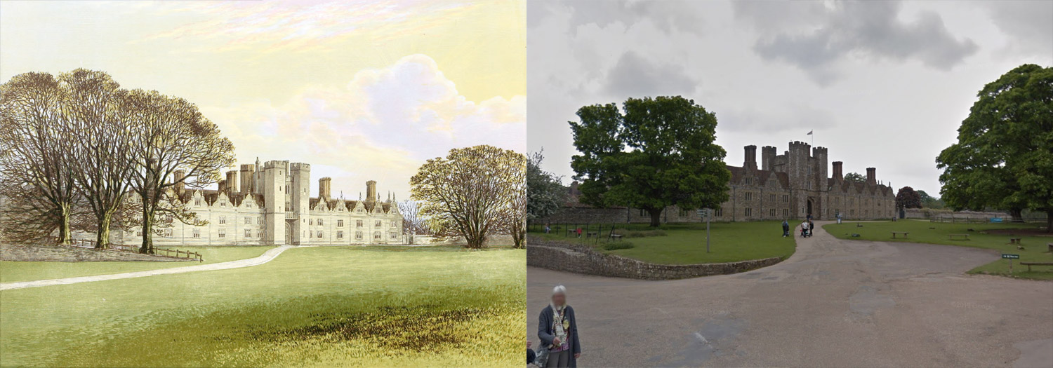 Side-by-side views of illustration and photo from Google Street View of Knole