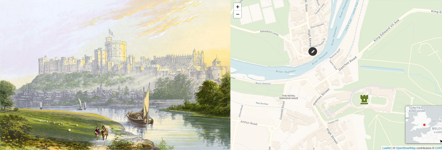 Illustration and map of location and vantage for Windosor castle