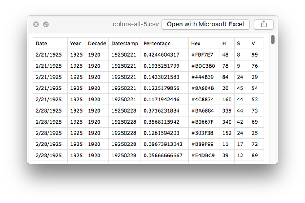 CSV screenshot
