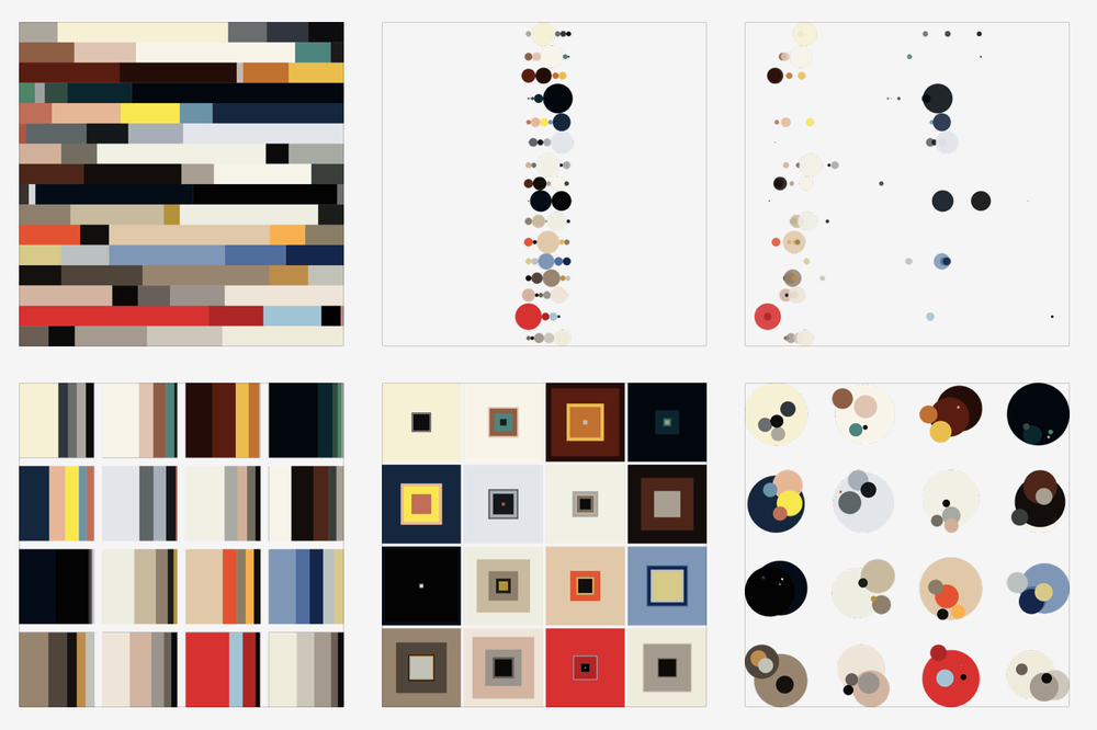 Six different ways of visualizing 16 issues of colors