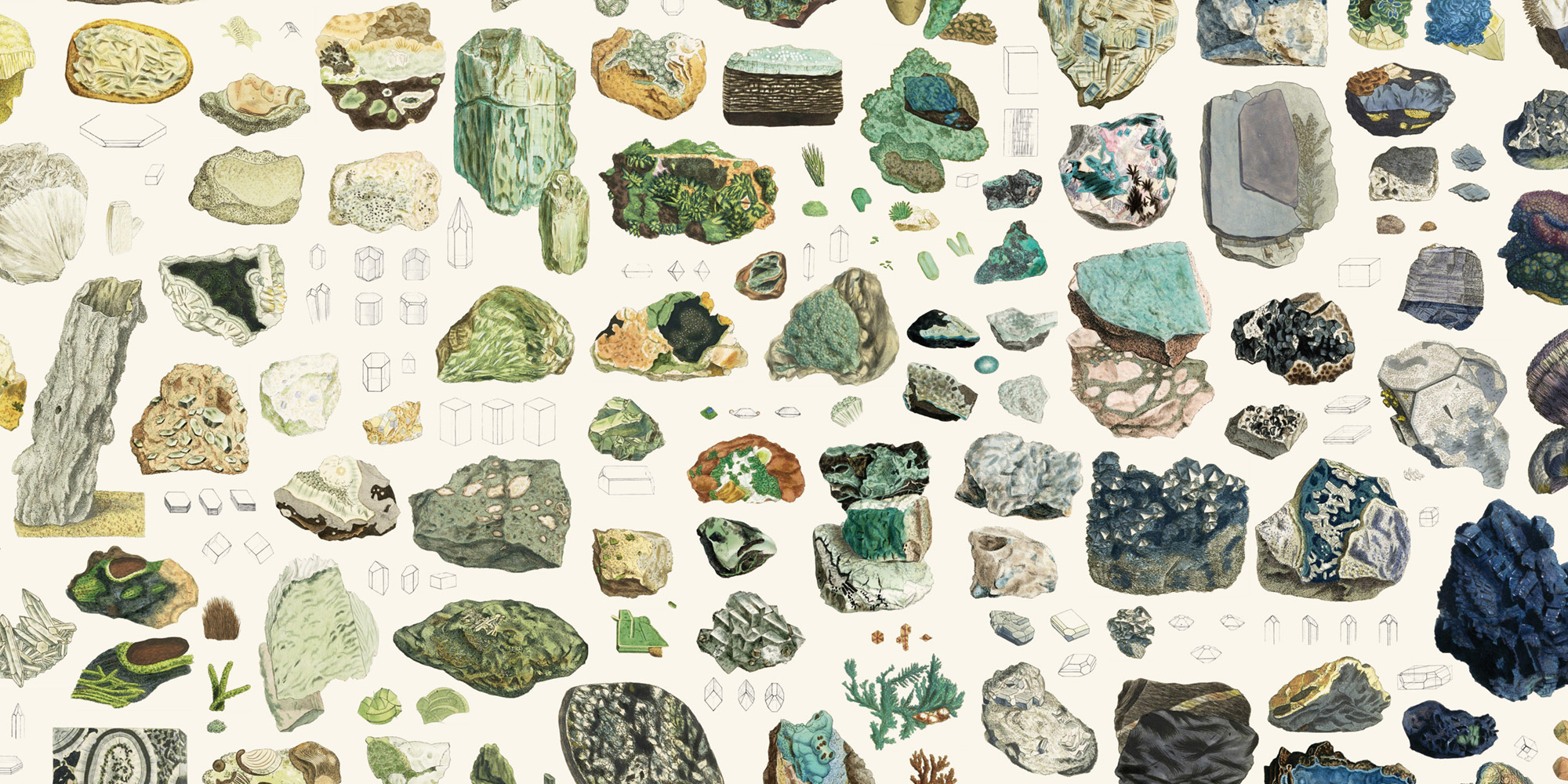Closeup of mineralogy collage