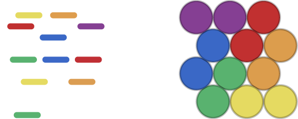 Example of 12 colors highlighted and 12 circles in a square
