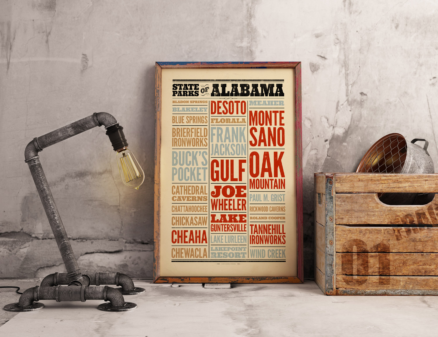 Alabama poster on table