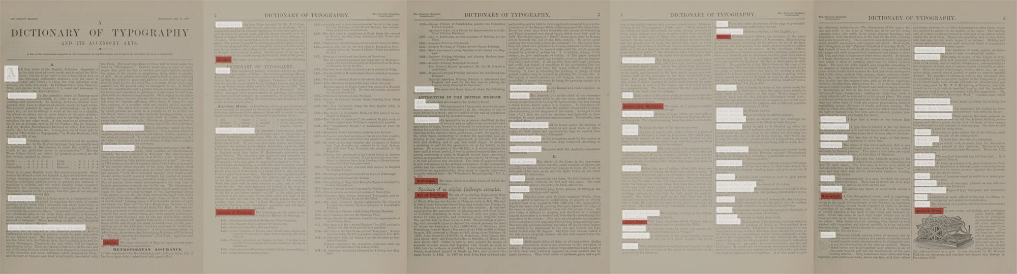 Sample of color coding terms on first edition pages